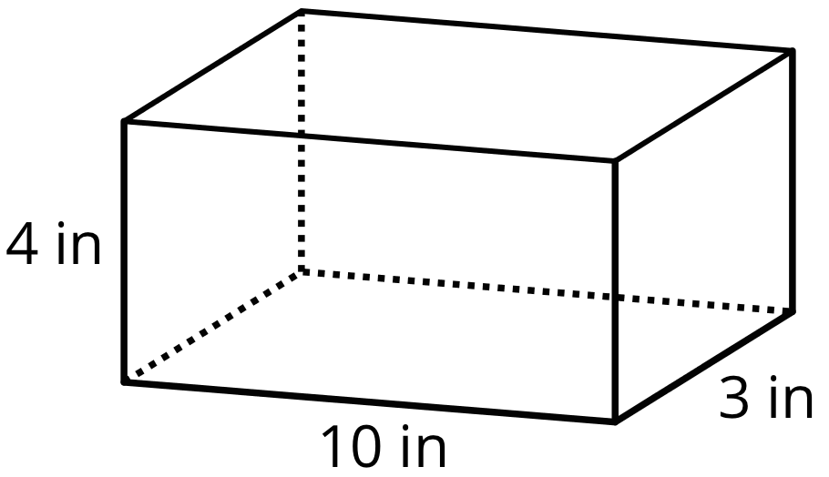 A rectangular prism that represents a box. The horizontal edge length is labeled 10 inches, the vertical edge length is labeled 4 inches, and the bottom, right edge length of the box is labeled 3 inches.