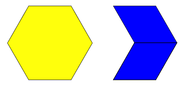 A diagram of two figures made of pattern blocks. The figure on the left is of one yellow hexagon and the figure on the right is of two blue rhombuses alinged along one vertical side.