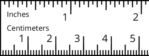portion of a ruler with the top labeled inches and the bottom of the ruler labeled centimeters. The top of the ruler has the numbers 1 and 2 indicated. There are 15 evenly spaced tick marks between the beginning of the ruler and 1 and between 1 and 2. The bottom of the ruler has the numbers 1 through 5 indicated. There are 10 evenly spaced tick marks between the beginning of the ruler and 1, 1 and 2, 2 and 3, 3 and 4, and 4 and 5.