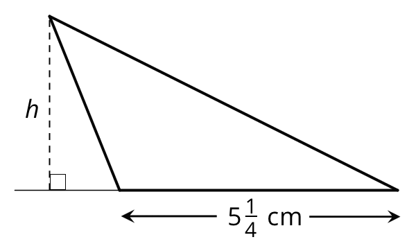 A triangle with a horizontal base labeled five and one fourth centimeters. A horizontal line is extended from the base and to the left. A vertical dashed line is drawn from the top right vertex to the extended base and a right angle symbol is indicated.