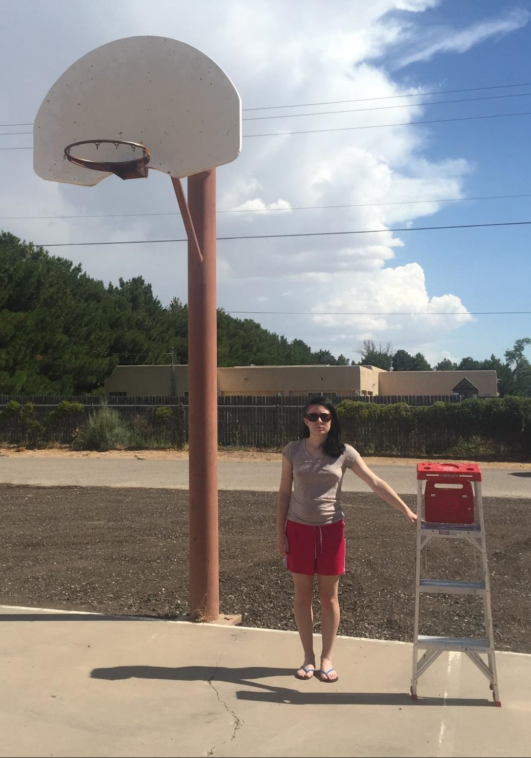An image of a full size basketball hoop attached to a pole. To the right of the pole stands a young woman. The height of the woman stops about midway up the pole. To the right of the woman stands a 4-rung step ladder. The height of the step ladder stops at the woman's shoulder.