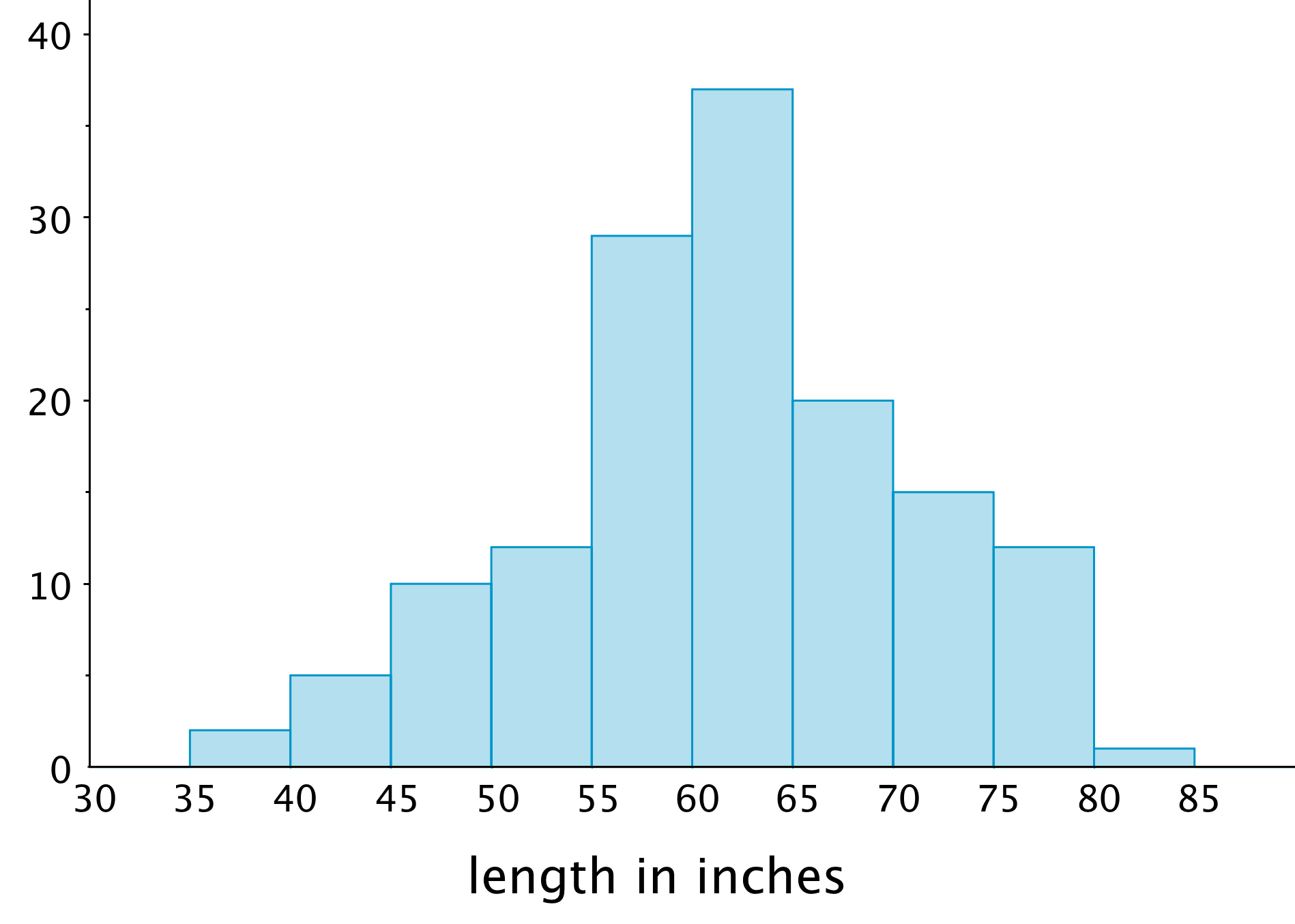 "A histogram.  The horizontal axis is labeled ""length in inches,"" the numbers 30 through 85, in increments of 5, are indicated.  On the vertical axis, the numbers 0 through 40, in increments of 10, are indicated, with tick marks midway between.  The data represented are approximately:  length from 35 up to 40 inches, 2; length from 40 up to 45 inches, 5; length from 45 up to 50 inches, 10; length from 50 inches up to 55 inches, 11; length from 55 up to 60 inches; 30; length from 60 up to 65 inches, 37; length from 65 up to 70 inches, 20; length from 70 up to 75 inches, 15; length from 75 to up to 80 inches, 11; length from 80 up to 85 inches, 1."
