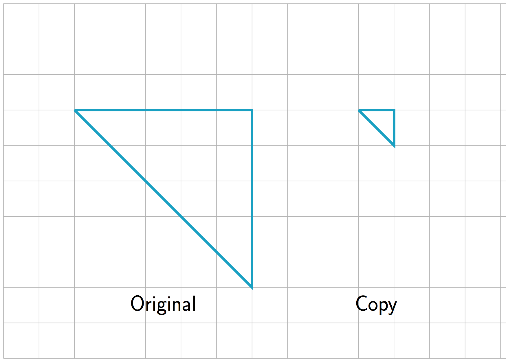 On a grid. Original triangle has sides of length 5, 5, and a diagonal length of down 5, over 5. The copy has side lengths of 1, 1, and a diagonal length of down 1, over 1.