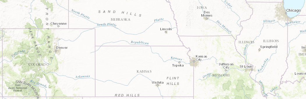 A map of 6 states that include Colorado, Nebraska, Kansas, Iowa, Missouri, and Illinois.
