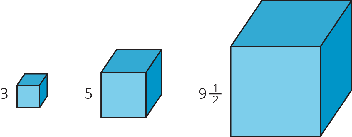 Three cubes of different sizes: first cube has side length 3, second cube side length 5, and thrid cube has side length 9 and 1/2