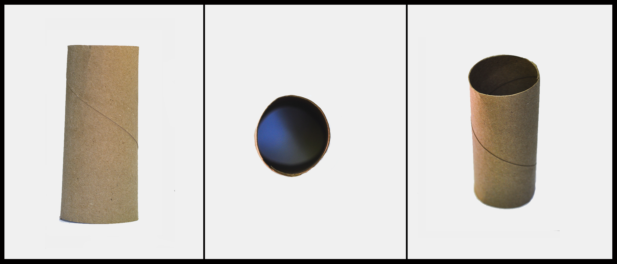 Three different views of a circular shaped toilet paper tube. The first view is of the vertical height of the tube. The second view is of the circular base of the tube. The third view is of both the base and the height of the tube.