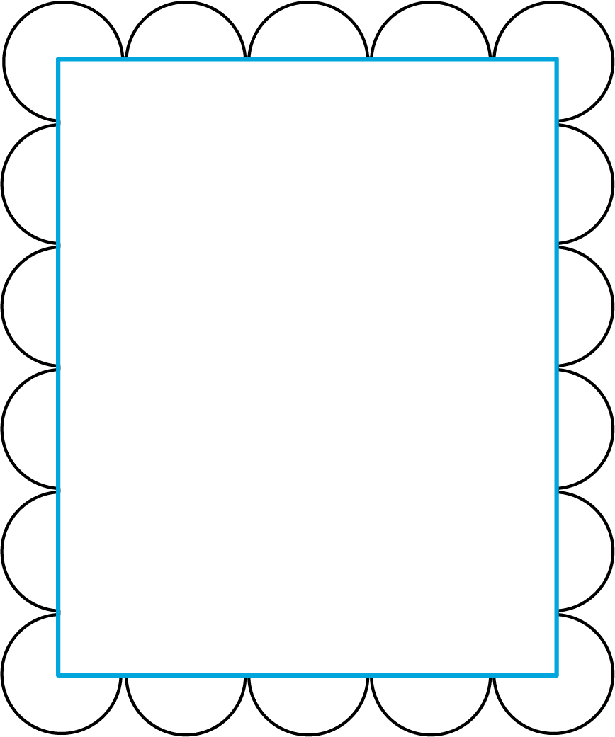 A rectangular figure that represents a picture frame. On each vertex is a three-quarters-circle where each vertex is the center of the three-quarters-circle. There are 3 identical half-circles on each horizonal length and 4 identical half-circles on each vertical width.