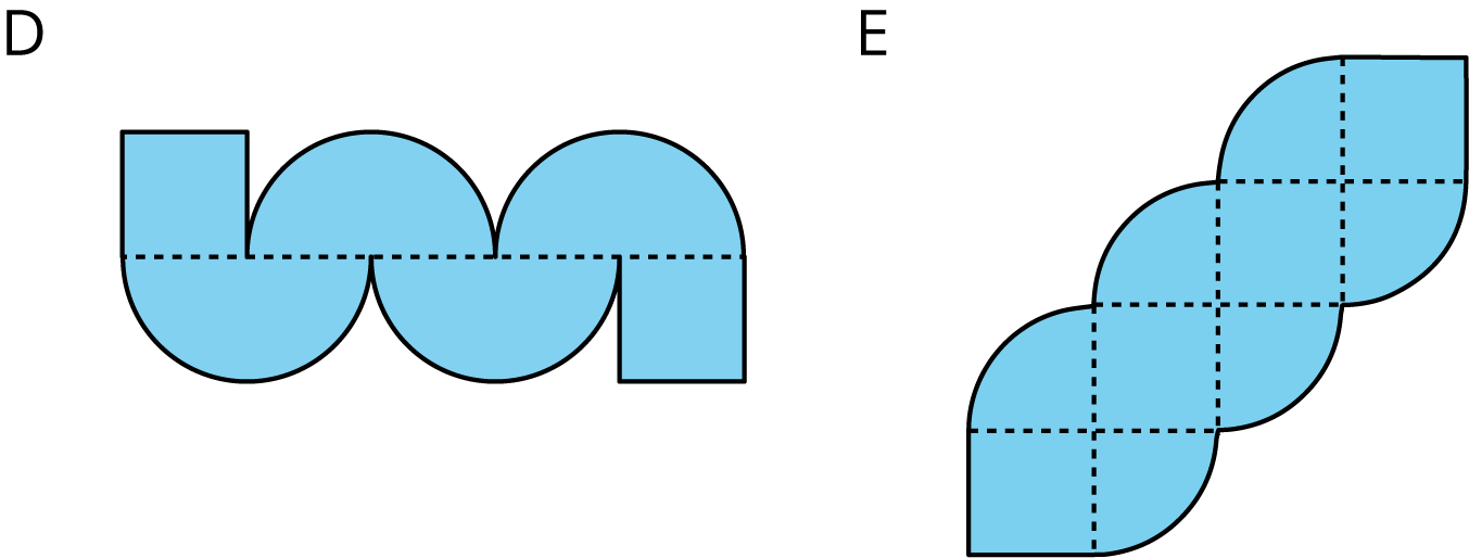 Two figures, labeled D and E. Figure D is composed of one square and two semi circles on top, and two bottom halves of circles and one square on the bottom. The top and bottom are divided by a horizontal dashed line. Fiqure E is composed of 4 squares and 6 quarter circles. The 4 square are arranged diagonally, where the top right vertex of the first square is the same point as the bottom left vertex of the second square, the top right vertex of the second square is the same point as the bottom left vertex of the third square, and the top right vertex of the third square is the same point as the bottom left vertex of the fourth square. The corner circles align in between the sides of each square.