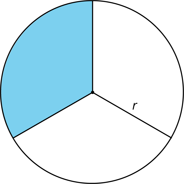 """A circle divided into three equal sections. From the center of the circle three line segments extend to a point on the circle. The line segment extending downward and to the right is labeled """"r"""". The upper left region of the circle is shaded."""