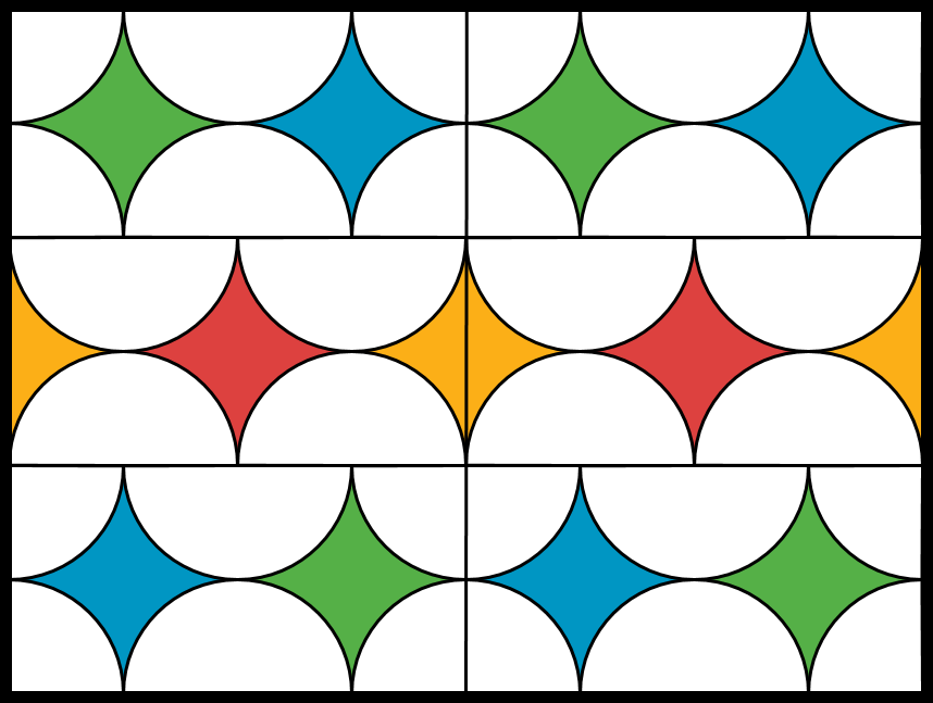 A stained glass window composed of six rectangular panels of equal size. The six panels are arranged two across and three down to form a three foot by four foot rectangle. Four panels are composed of two half circles and four quarter circles of clear glass that are tangent to each other. The two radii of the quarter circles are on both the horizontal and vertical sides of the rectangule and the diameter of the semi circles are on the horizontal side of the rectangle. The remaining regions in the panel are composed of colored glass. Two panels are composed of four half circles of clear glass that are tangent to each other. The diameters of the semi circles are on the horizontal sides of the rectangular panel and are half the length of the horizontal side. The remaining regions in the panel are composed of colored glass.