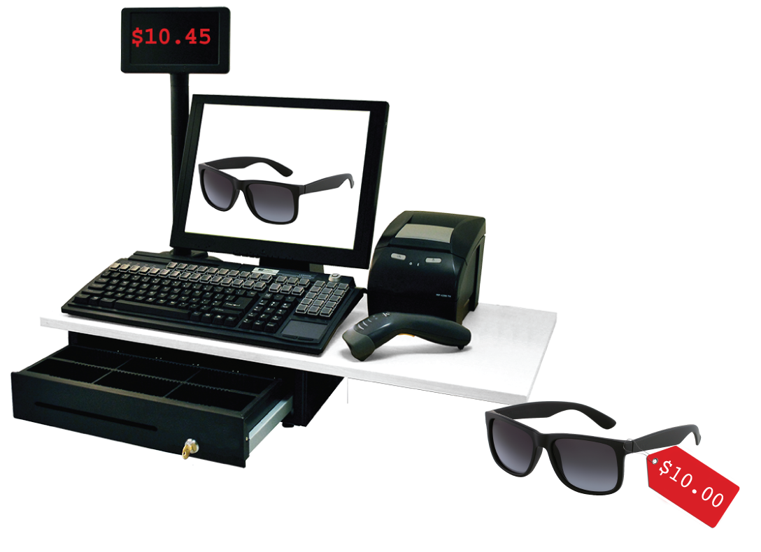 An image of a cash register, price scanner, and pair of sunglasses. The sunglasses have a price tag labeled ten point zero zero dollars. The display on the register indicates 10 point 4 5 dollars.