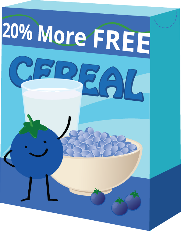 "Picture of a cereal box with the label ""20% more free"" on the box."