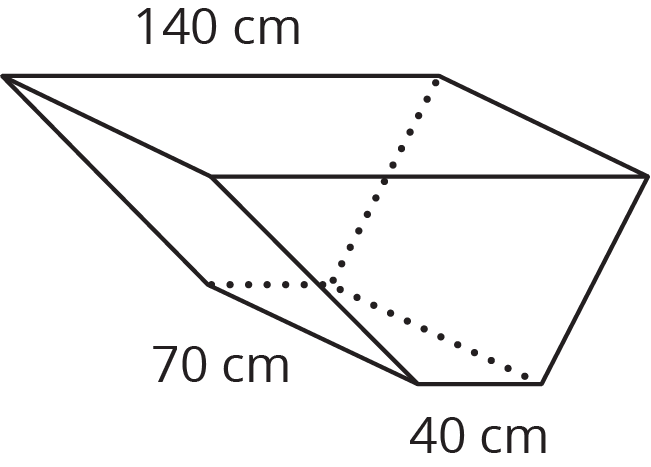 A trapezoidal prism with a bottom base width of 40 centimeters, top base width of 140 centimeters, and length of 70 centimeters is indicated.
