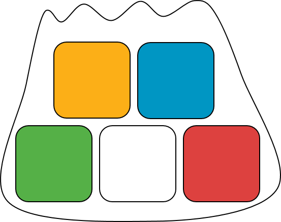 A bag with 5 different colored blocks. The bag contains one yellow block, one blue block, one green block, one white block, and one red block.