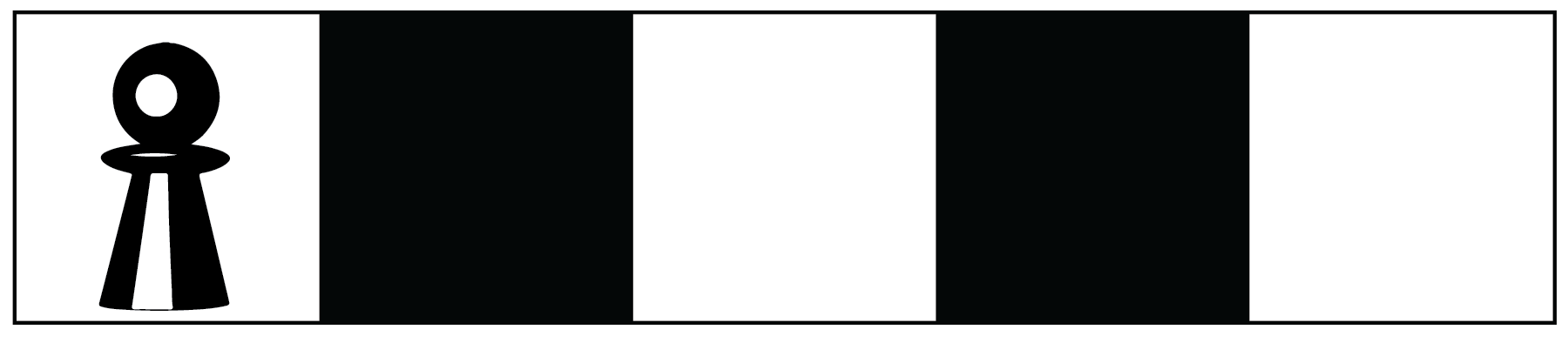 A game board with one row of alternating white and black squares. There are five squares in total and the board begins and ends with a white square. A playing piece is located on the first white square.