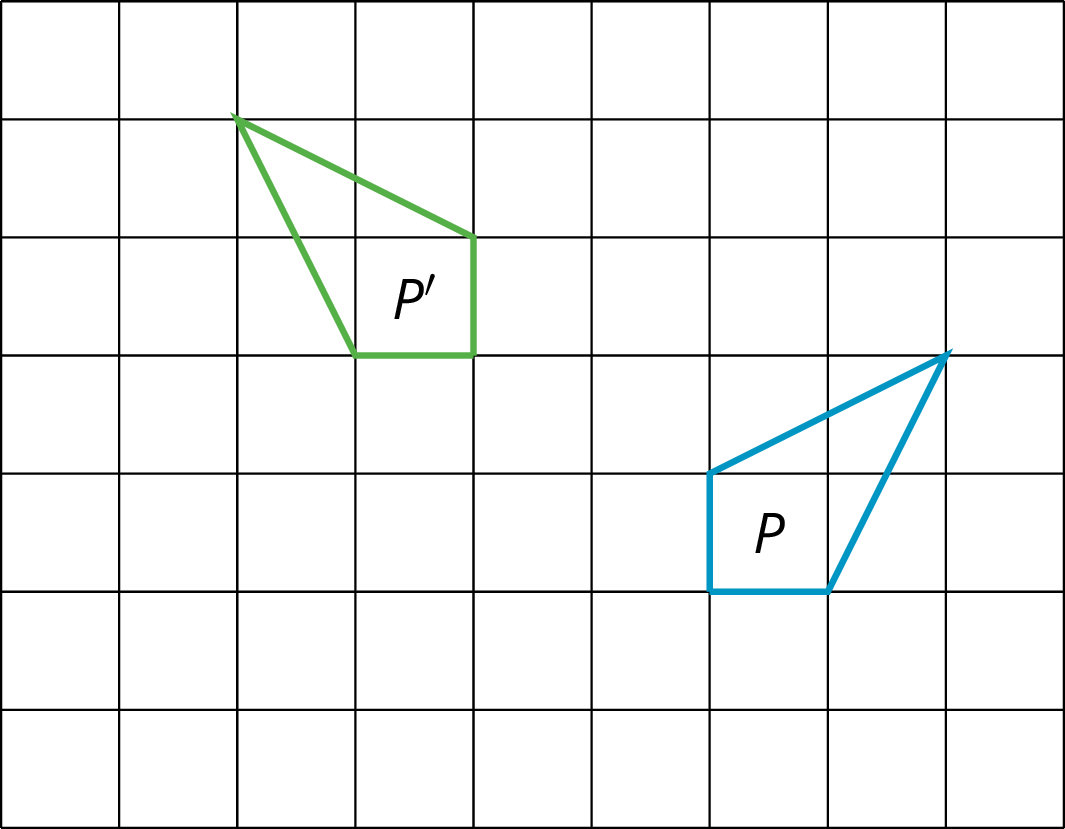 Two identical polygons labeled P and P prime on a square grid