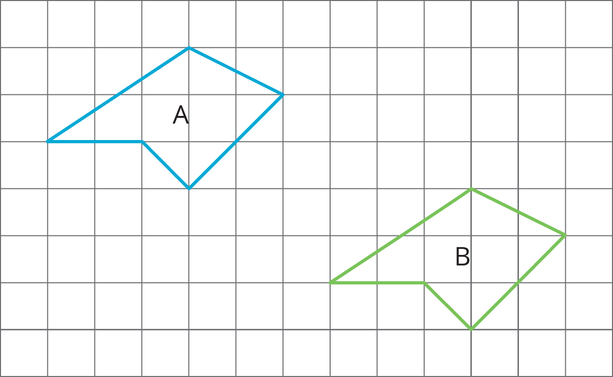 For each pair of polygons, describe the transformation that could be  applied to Polygon A to get Polygon B.