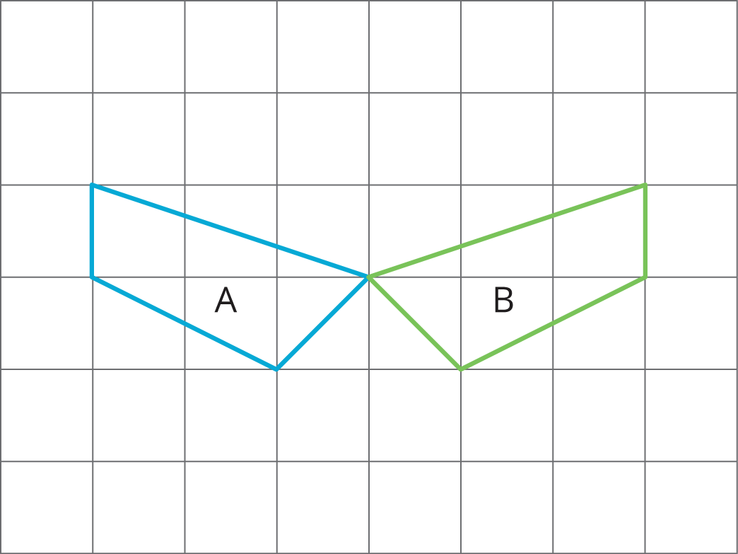 ... one labeled Polygon A and one labeled Polygon B. Describe how to move  Polygon A into the position of Polygon B using a transformation.