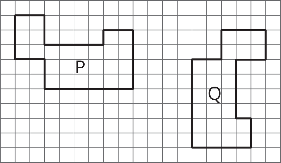 two of the same figure on a square grid in different orientations and position