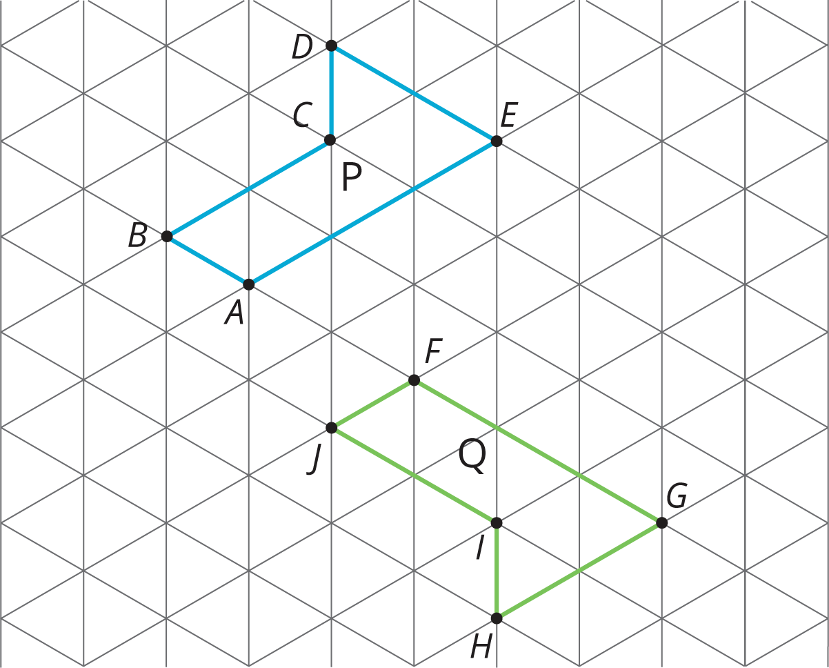 two of the same figure on an isometric grid in different orientations and position