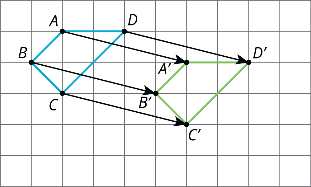 A quadrilateral A, B, C, D, and its translation to A prime, B prime, C prime, D prime.