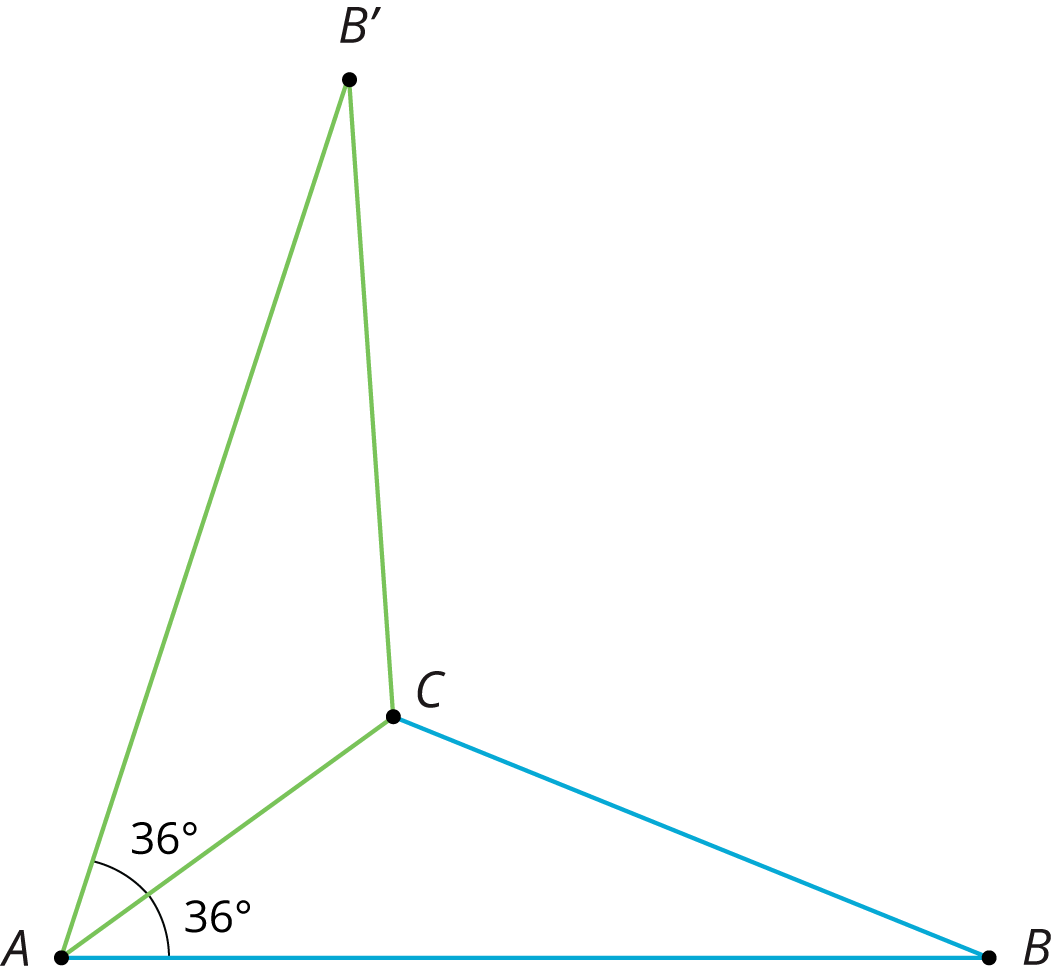 Triangle A, B, C, with angle with measure 36 degrees at A. It has been reflected in the side A, B.