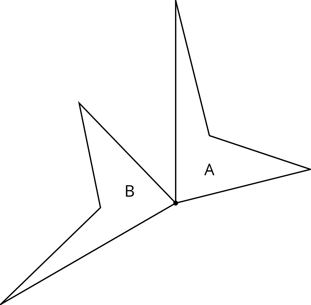 Two identical quadrilaterals labeled A and B that meet at a point.