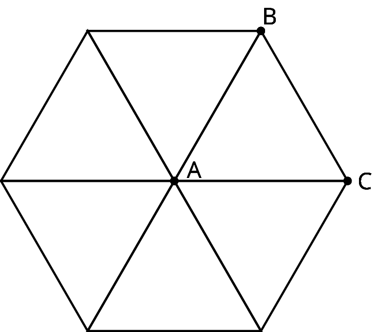 Six identical equilateral triangles are drawn such that each triangle is aligned to another triangle created a hexagon. One of the triangle is labeled A B C and all 6 triangles meet at the common point of A.