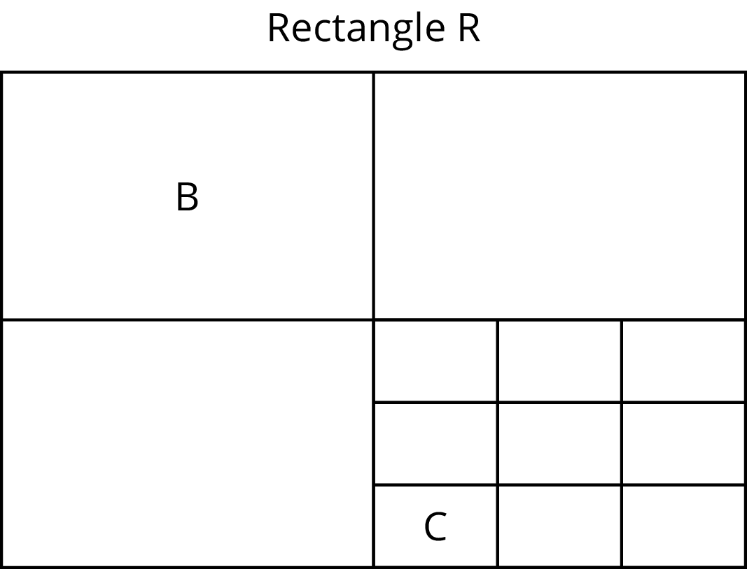 A rectangle labeled R is evenly divided into 4 equal sized smaller rectangles. The top right rectangle is labeled B. The bottom right rectangle, is further evenly divided into 9 equal sized smaller rectangle, in which one of those rectangles are labeled C.