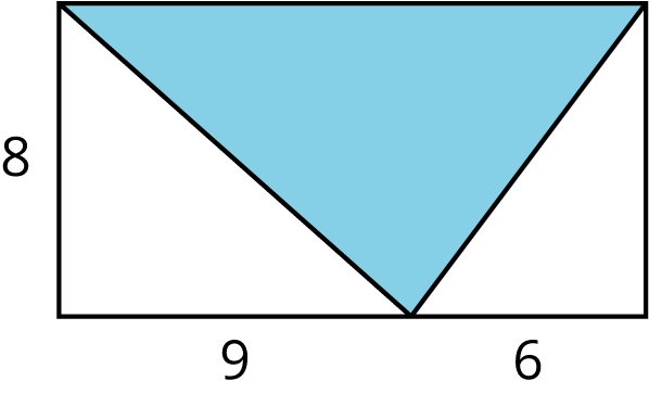 A rectangle with a point on the bottom side. Two line segments are drawn from the point to the top left vertex and from the point to the top right vertex of the rectangle creating 3 triangles. The left side of the rectangle is labeled 8. The segment from the bottom left corner of the rectangle to the point on the bottom side is labeled 9. The segment from the point on the bottom side to the bottom right corner is labeled 6. The middle triangle is shaded.