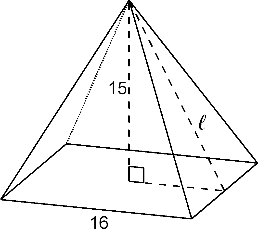 "A right square pyramid. The side lengths of the square base are labeled 16. The slant height is labeled ""L"" and is indicated by a dashed line from the top vertex of the pyramid, along the middle of one of the side triangular faces. A right triangle is formed inside the pyramid by the slant height line, ""L,"" a dashed line from the top vertex of the pyramid, to the middle of the square, labeled 15, and by another dashed line that forms a right angle and connects along the base of the pyramid to the slant height, ""L."" The slant height ""L"" is opposite the right angle."