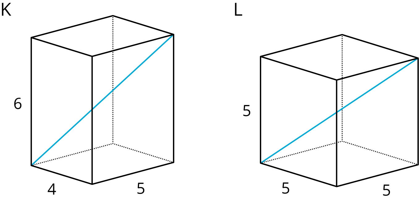"A rectangular prism labeled ""K"" and a cube labeled ""L"" are indicated. The rectangular prism has a side with a length of 5 units, a side with length of 4 units, and a vertical height with a length of 6 units. A diagonal is drawn from the bottom left vertex to the top right vertex of the prism. The cube has all side lengths of 5 units. A diagonal is drawn from the bottom left vertex to the top right vertex of the cube."