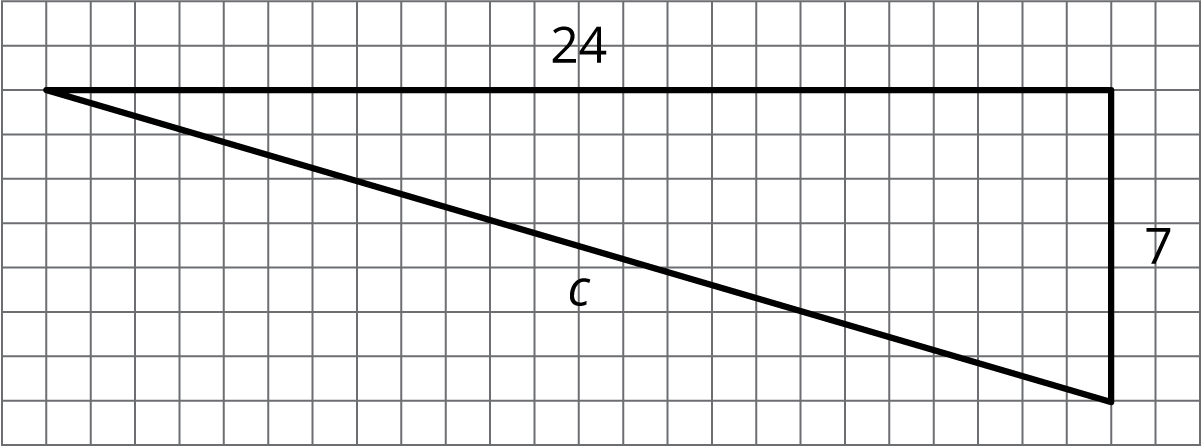 A right triangle on a square grid. The horizontal side has a length of 24 and the vertical side has a length of 7. The hypotenuse is labeled c.