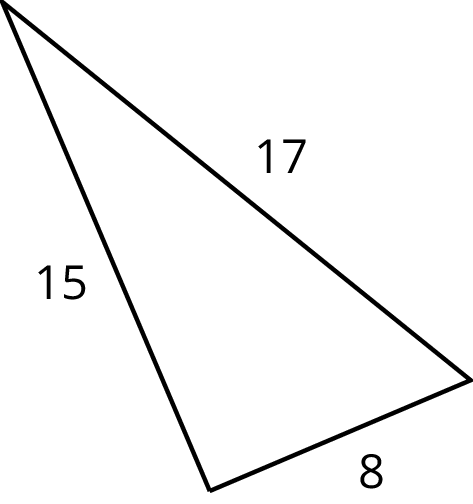 A triangle with side lengths labeled 15, 17 and 8.