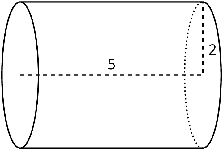 A drawing of a cylinder whose radius is 2 and height is 5.