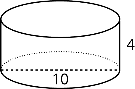 A right circular cylinder with a height of 4 and a diameter of 10.