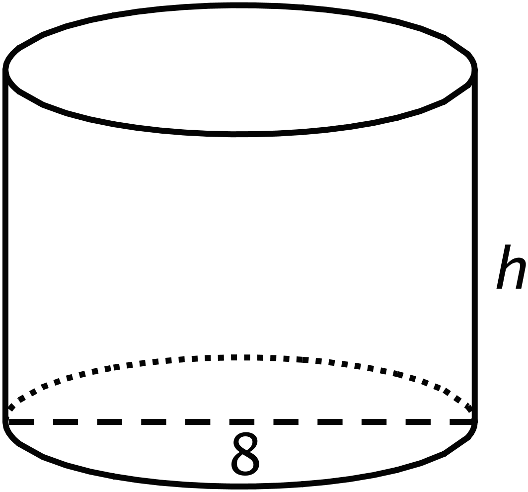 An image of a right circular cylinder with a diameter of 8 units and height labeled h.