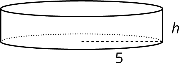 An image of a right circular cylinder with a radius of 5 and height labeled h.