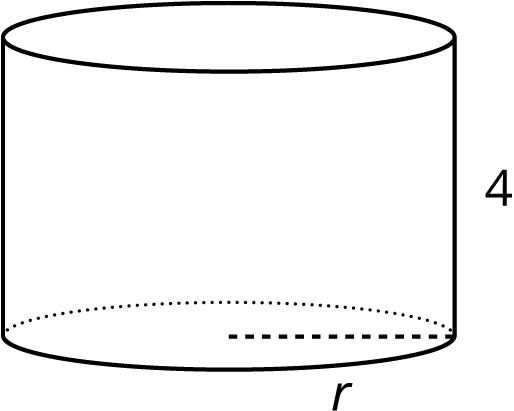 An image of a right circular cylinder with a height of 4 and radius labeled r.