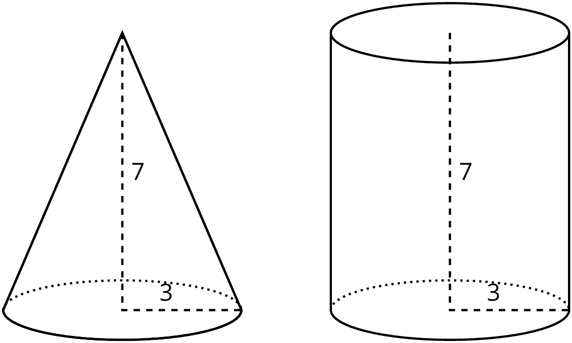 An image of a right circular cone and a right circular cylinder. The cone has a height of 7 and radius of 3. The cylinder has a height of 7 and a radius of 3.