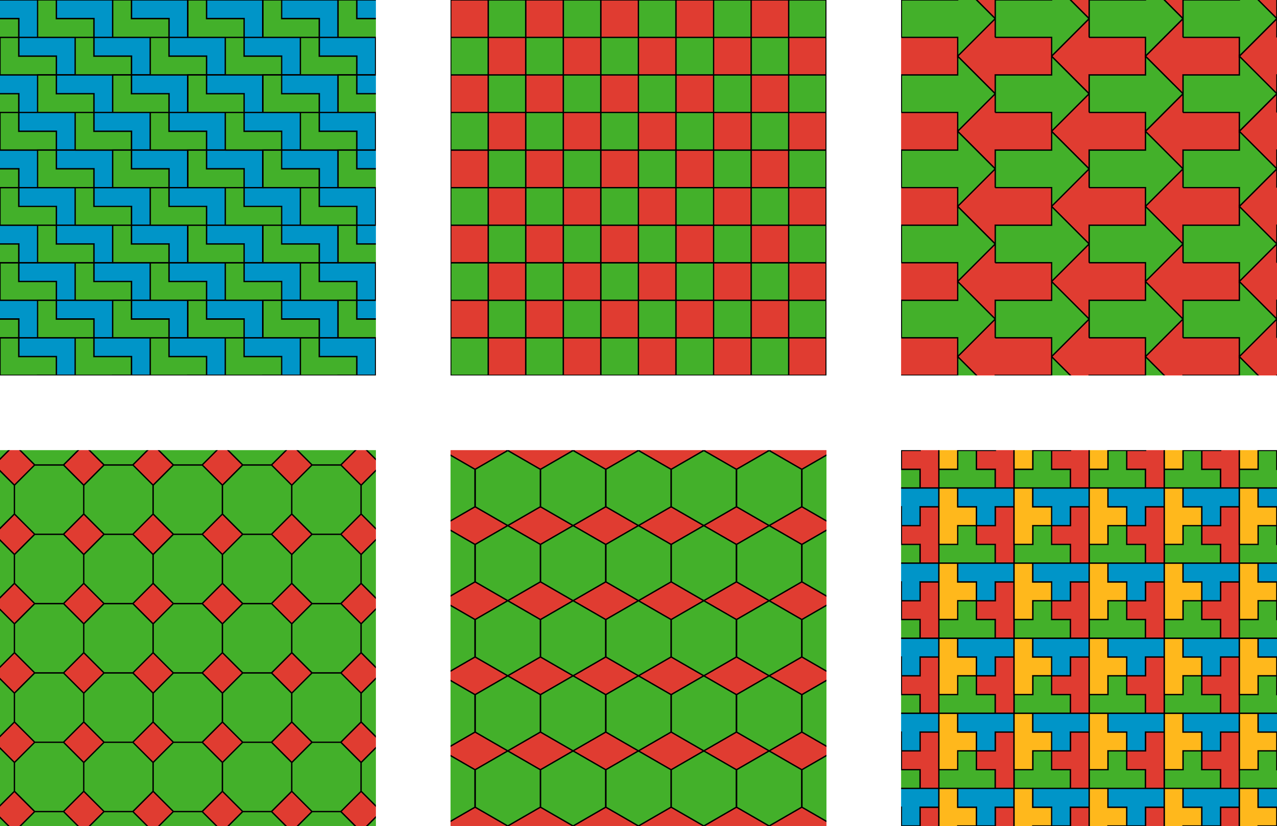Six squares with patterns.   The first square shows green and blue L shaped polygons, stacked on top of each other to create a rectangle. The green and blue rectangles create diagonal lines.   The second square has 10 rows of red and green alternating square tiles. The first row begins with a red tile and ends with a green tile. The second row begins with a green tile and ends with a red tile. The first and second row repeat for 10 rows.  The third square has 10 rows of green and red arrows. The green arrows points to the right. The red arrows point to the left. Odd rows have green arrows. Even rows have red arrows.  The fourth square has small green tiles with small red rhombuses at the corners of each square tile. There are 25 full green square tiles and 36 red rhombuses. The small red rhombuses are smaller than the green tiles, and do not touch each other.  The fifth square has small green tiles with red parallelograms at the corners. The center of the parallelogram is aligned with the edge of the square; the left and right point of each parallelogram hits the center of the squares on either side of the edge. The vertex of each red parallelogram touches the vertex of the next red parallelogram. There are 25 full green square tiles and 36 red parallelograms.  The sixth square has 16 full small square tiles and a border of 20 partial tiles. Each tile is comprised of 4 t shaped polygons, with the bottom point of each T facing into the center. The top left corner is a sideways yellow T. The top right corner is a blue T. The bottom right corner is a sideways red T. The bottom left corner is an upside down green T.