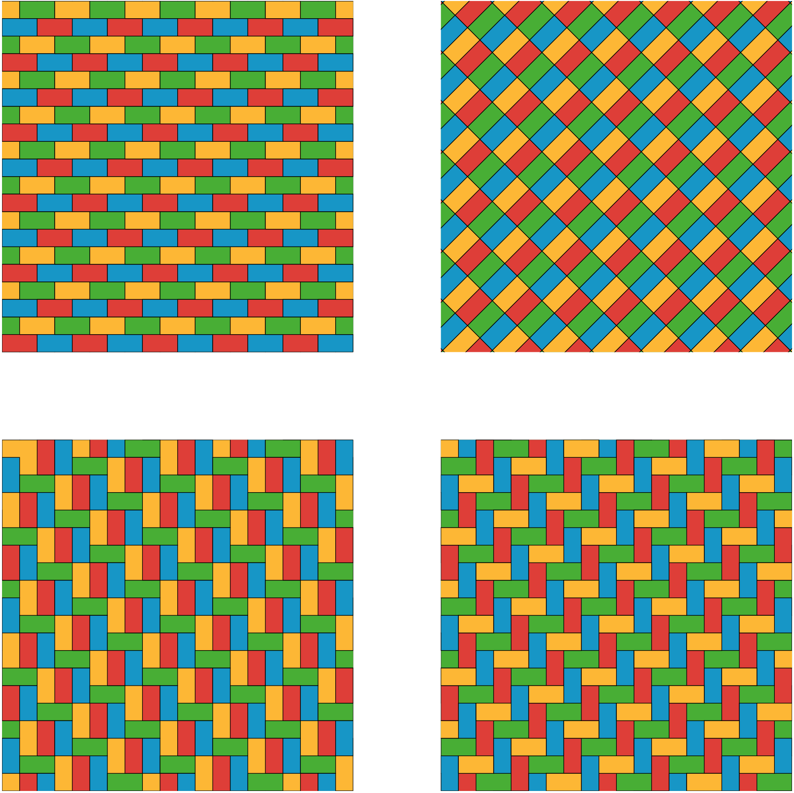 This should not be a alt text description. Tactile is needed.....Four tessellations.One tessellation has groups repeating rows of two rectangles. The first row has yellow and green alternating rectangles and the second row has blue and red alternating rectangles. Another tessellation has alternating blue and red alternating rectangles slanted upward and to the right. Below the red and blue rectangles are alternating yellow and green rectangles.  A third tessellation has groups of three rectangles next to one another, sharing the long sides: the long sides are vertical. In addition to these groups of three rectangles, there are single rectangles with the long side lying horizontally. A fourth tessellation has alternating rectangles placed horizontally then vertically.
